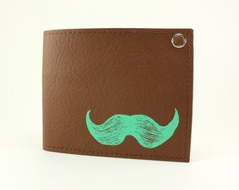 On sale - Mustache Wallet - Mint and Chip - The Ultimate Sweetness