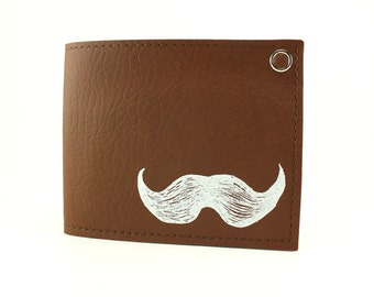 On Sale - Mustache Wallet - Brown and White - Whisker Approved