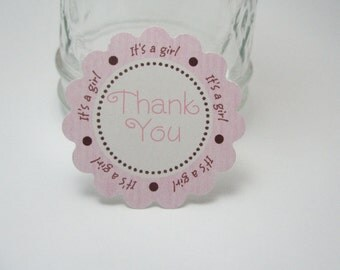 Pink and brown thank you baby shower tags -  by Just Scraps N Things
