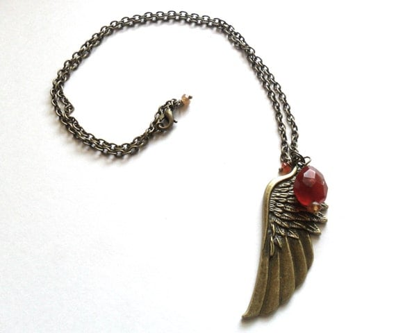 Fire Angel, Carnelian and Citrine winged necklace, sexuality, confidence, action