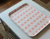 Vintage George Nelson Pavement Boltabest Tray, Pink Modern Abstract Mid Century Serving Tray Pink White Black Brown Bakelite Circle Design