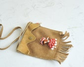On SALE // Leather Childs Purse with Beaded Figure Fringe Bloom Brothers Co