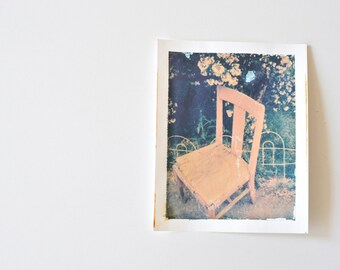 Polaroid Transfer, Peeling Paint, Pink Chair, Loving of Self,  Decay, Come Sit, Pink and Green Image, Weathered Pink Chair, Handmade Image