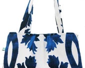 "Handbag, fabulous everyday bag with contrasting blue and white leaf design, ""Drift"""