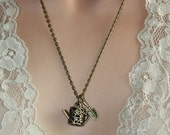 Watering Can Necklace - Dragonfly necklace, Gardener Necklace, Charm Necklace, gift for her