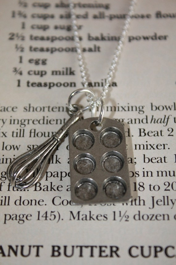 Cupcake Baking Pan And Whisk On A Sterling Silver Plated Chain