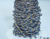 Faceted Iolite stones hand wire wrapped with Gold Plated Wire Chain, 1 Foot