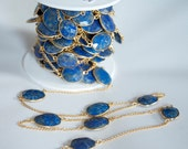 By the  foot Gemstone chain Lapis Lazuli with 18 k Gold platedl Chain, bezel set free form stones