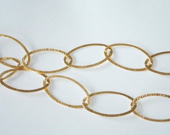 18k Gold on Sterling Chain, Large Brushed Oval Link, M/RWXB090H 3 feet, Italian