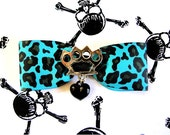Silver Brass Knuckles and Black Heart Leopard Hair Bow - Turquoise - Psychobilly - Punk