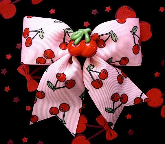 SALE - Rockabilly Cherry Baby Overkill Hair Bow - Pink - LAST ONE