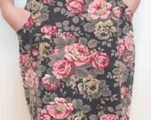 Vintage 1980s High Waisted Skirt - 80s Floral Roses Denim Skirt - M
