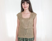 Vintage Crocheted Tank Top - Flapper Girl Tank Top in Light Taupe Brown - S