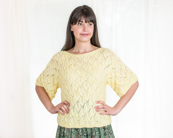 Sale - Vintage Hand Knit Sweater - Yellow Sweater - M