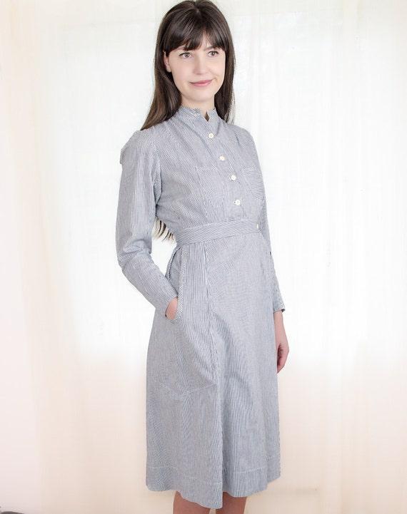 Vintage 1920s Nurses Uniform - 20s Dress - Blue and White Striped Ticking Dress - XS