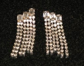 CLEARANCE SALE - Vintage Clear Rhinestone Long Dangling Pierced Earrings (E-2-1)