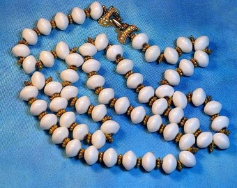 CLEARANCE SALE - Vintage Long Gold Tone White Lucite Necklace (N-2-3)