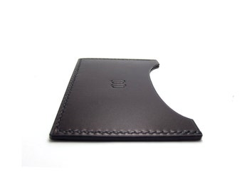 Personalized Monogrammed Black Leather Card Case, any word