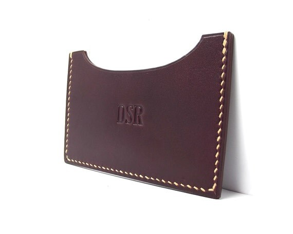 Monogrammed Naturally tanned Leather Card Case, Mahogany, horizontal, Oxblood, redwood leather, fathers day, personalized