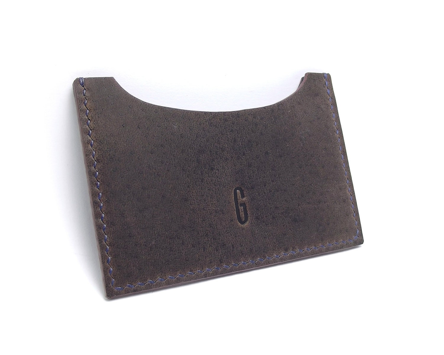 Monogrammed dark leather card holder business card case for Monogrammed leather business card holder