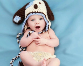Baby Boy - Dog Hat - Newborn Hat - Newborn Photo Outfit - Newborn Girl Photo Prop - Newborn Boy Photo Prop Outfit - Dog Hat And Diaper Cover
