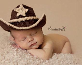 Cowboy Hat - Baby Photo Prop - Baby Cowboy Hat - Crochet Cowboy Hat - Cowboy - Newborn Cowboy Hat - newborn photo prop - cowboy prop