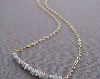 Rough Diamonds Modern Necklace with 14K GF