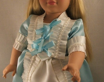 Rennaissance or Medievel Era Dress, Jacket, Bum Roll  and Pantaloons, Fits American Girl and 18 Inch Dolls