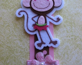 SALE --- Pink Monkey Bow Clip Holder Organizer with Bonus Clip