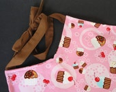 Women's Apron - Two-Toned Pink and Brown Cupcakes - Large