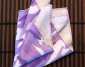 Small Flankie - Purple and White Camo Flannel Handkerchiefs - Set of 3