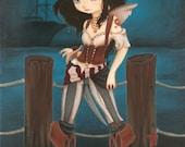 Fairy PIRATE  ship sea ACEO print - Jane pirate