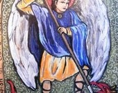 Valentine gift for him Valentine angel St Saint Michael the Archangel St Michael Retablo - Print