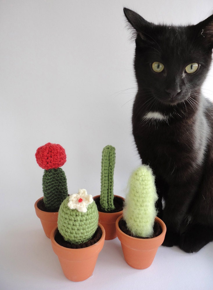 Crochet Cactus Amigurumi Plant Set of Four by Lazymuse on Etsy