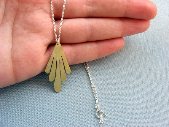 Art Deco Brass Necklace - Sterling silver chain