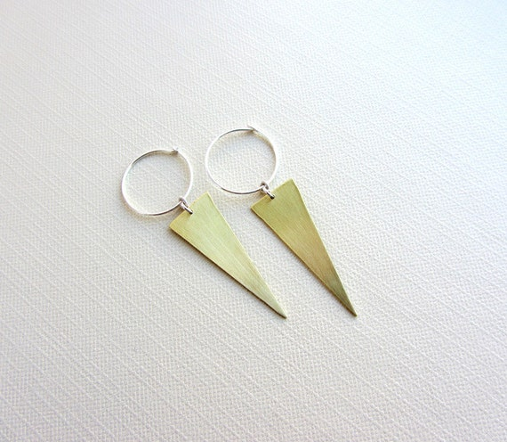 Gold Brass triangle earrings, Sterling silver hoop - Geometric jewelry