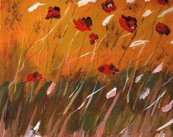 The Scent of Spring -Original Small Floral Abstract Acrylic Painting