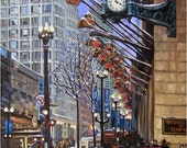Chicago Holiday Oil Painting - 12x15in Giclee Print