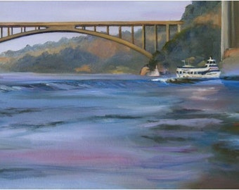 Original Oil Painting of Niagara Falls- 24x12in On Sale
