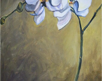 White Orchids Original Oil Painting - 11x14