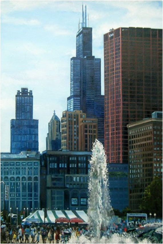 Chicago City Oil Painting - 12x18in Giclee Print