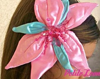 Little Mermaid flower hair clip handmade Pink Satin AND Seafoam Green Satin Leaves BEADED RHINSTONES