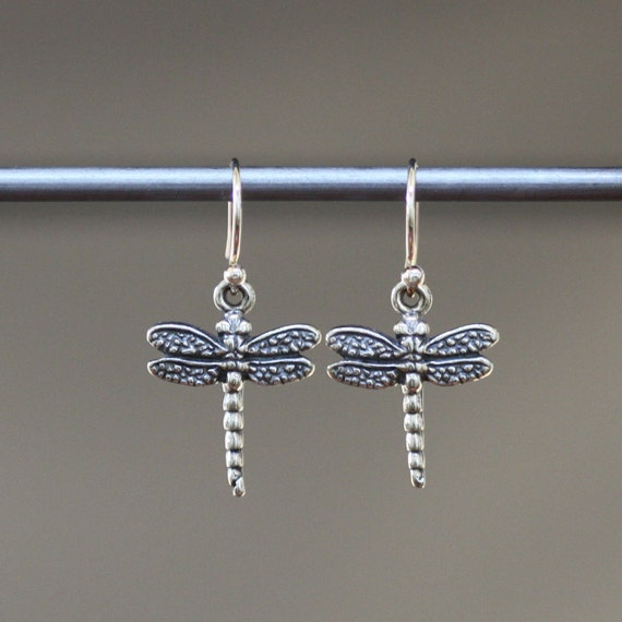 Dragonfly Earrings - Dragonfly Charms - Bali Silver Earrings - Silver Charm Earrings - Bug Earrings - Insect Jewelry - Small Jewelry Gift