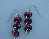 Red, black, and silver anodized aluminum barrel weave chain maille earrings