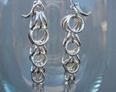Chain maille earrings sterling silver and Swarovski crystal graduated cascade fringe
