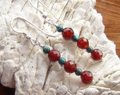Warmth - Sterling Silver, Carnelian and Turquoise earrings - Chakra healing stones