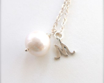 Initial Necklace Silver, Sterling Silver Personalized Pearl Necklace, Silver Letter Necklace, June Necklace, Wedding Jewelry for Bridesmaids