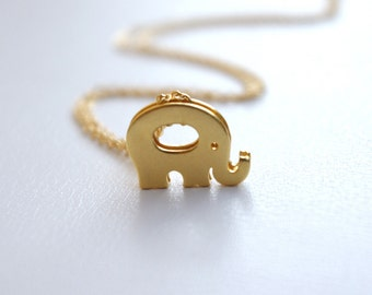 Initial Jewelry, Personalized Elephant Initial Necklace, Gold Plated Elephant Pendant Necklace, Kids Jewelry, Lucky Elephant Necklace