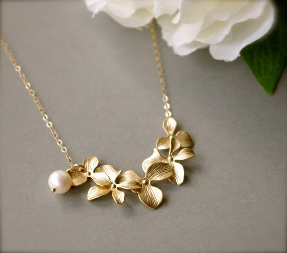 Cascading Gold Orchid Necklace, White Freshwater Pearl Gold Filled Chain, 16K Gold Plated Flower Connectors, Gift For Her, Mother's Day Gift