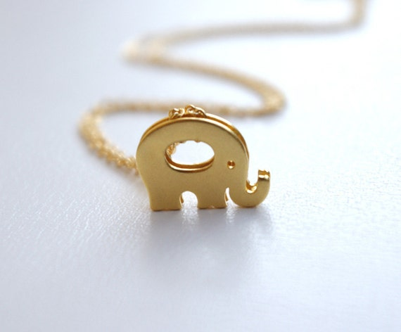 Initial Jewelry, Personalized Elephant Initial Necklace, 16K Gold Plated Elephant Pendant Necklace, Lucky Elephant Necklace, Gifts For Women